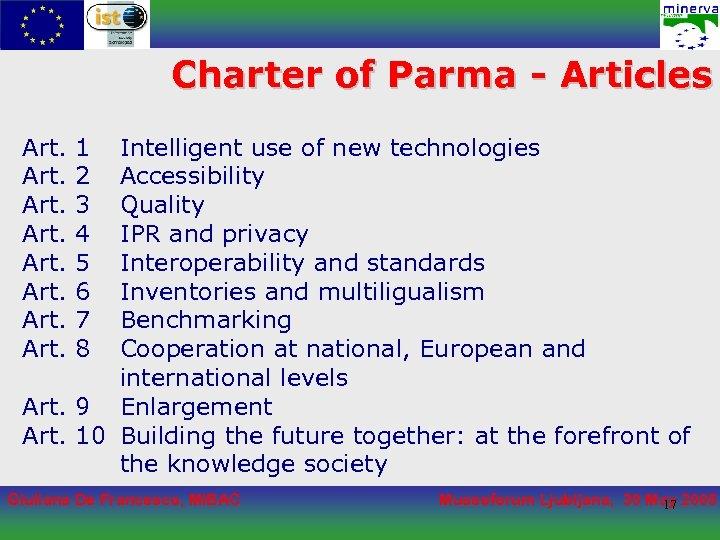 Charter of Parma - Articles Art. 1 2 3 4 5 6 7 8