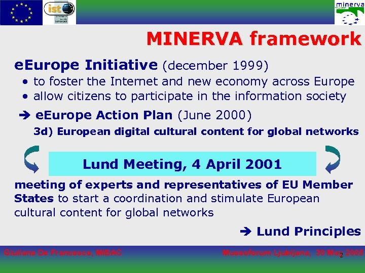 MINERVA framework e. Europe Initiative (december 1999) • to foster the Internet and new