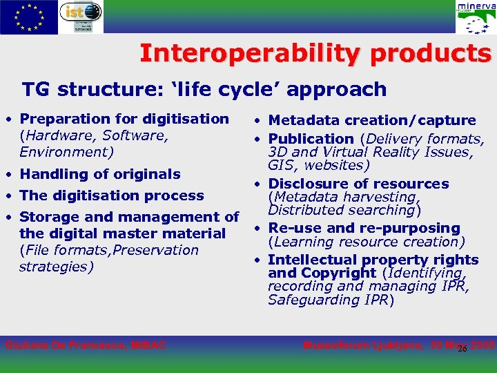 Interoperability products TG structure: 'life cycle' approach • Preparation for digitisation (Hardware, Software, Environment)