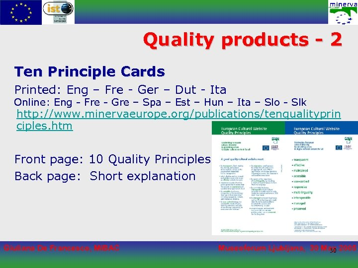 Quality products - 2 Ten Principle Cards Printed: Eng – Fre - Ger –