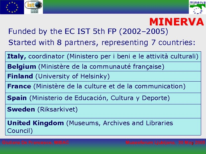 MINERVA Funded by the EC IST 5 th FP (2002– 2005) Started with 8