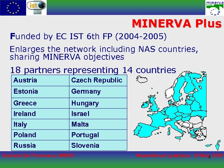 MINERVA Plus Funded by EC IST 6 th FP (2004 -2005) Enlarges the network