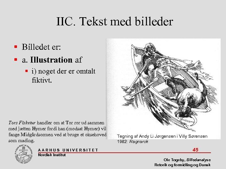 IIC. Tekst med billeder Billedet er: a. Illustration af i) noget der er omtalt