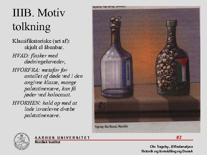 IIIB. Motiv tolkning Klassifikatoriske (art af): skjult el åbenbar. HVAD: flasker med dødningehoveder, HVORFRA: