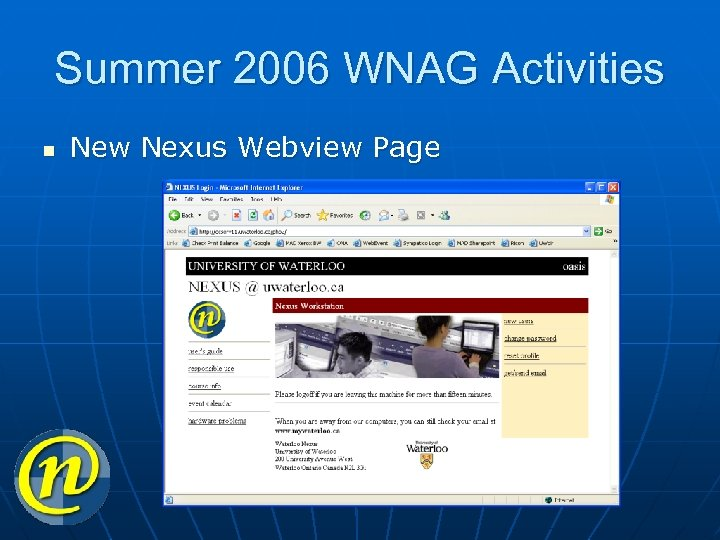 Summer 2006 WNAG Activities n New Nexus Webview Page