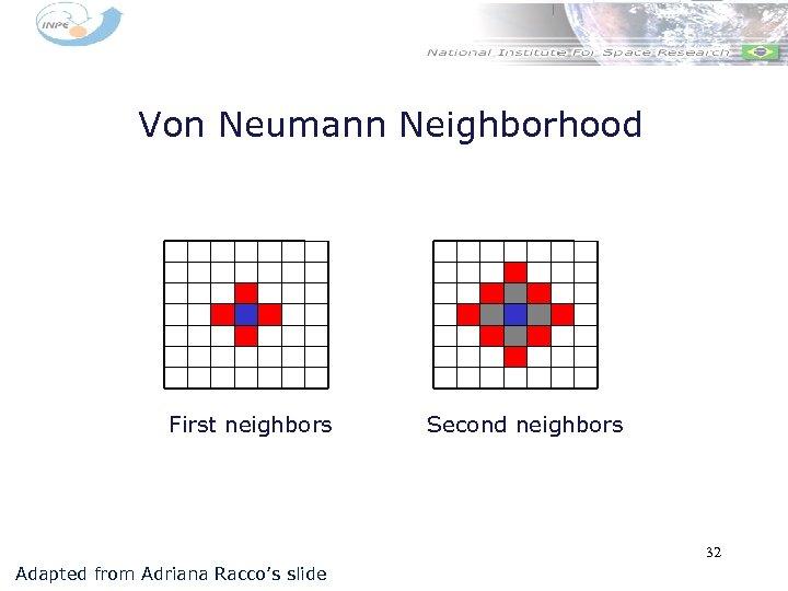 Von Neumann Neighborhood First neighbors Second neighbors 32 Adapted from Adriana Racco's slide