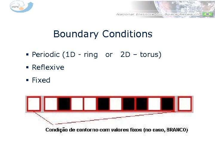 Boundary Conditions § Periodic (1 D - ring § Reflexive § Fixed or 2