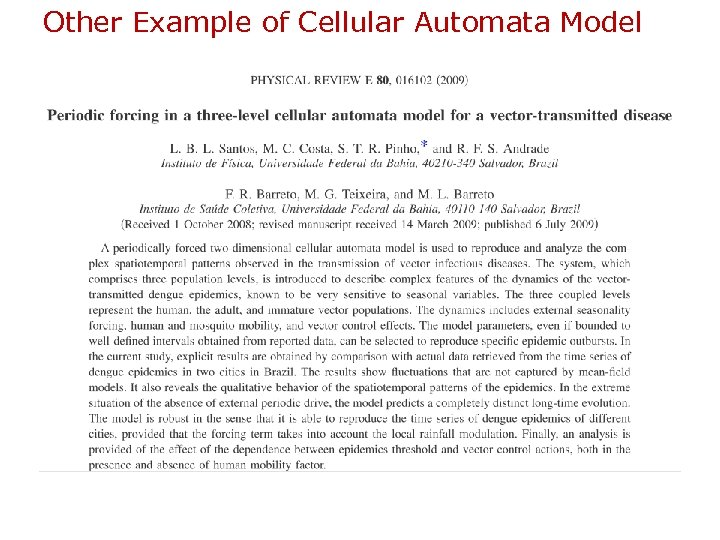 Other Example of Cellular Automata Model