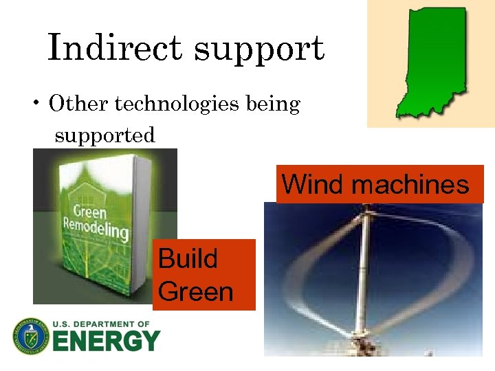 Indirect support • Other technologies being supported Wind machines Build Green