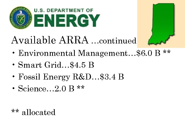 Available ARRA …continued • Environmental Management…$6. 0 B ** • Smart Grid…$4. 5 B