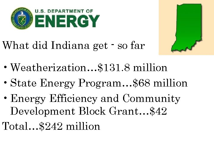 What did Indiana get - so far • Weatherization…$131. 8 million • State Energy