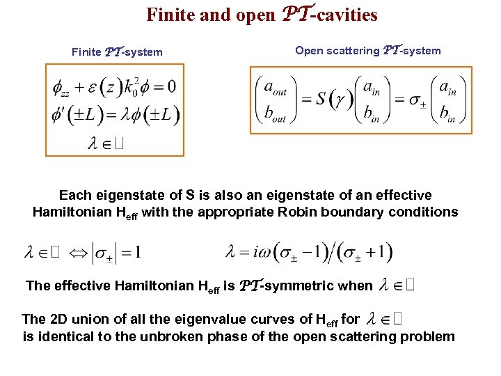 Finite and open PT-cavities Finite PT-system Open scattering PT-system Each eigenstate of S is