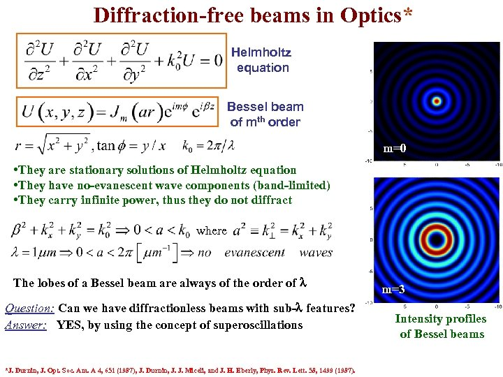 Diffraction-free beams in Optics* Helmholtz equation Bessel beam of mth order m=0 • They