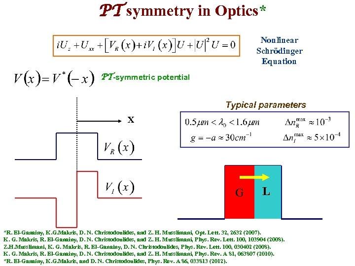 PT symmetry in Optics* Nonlinear Schrödinger Equation PT-symmetric potential Typical parameters X G L