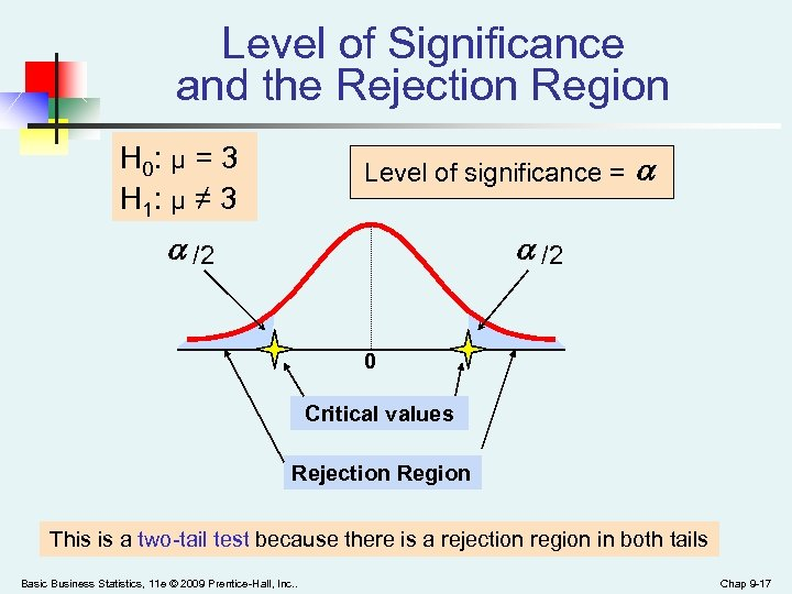 Level of Significance and the Rejection Region H 0: μ = 3 H 1: