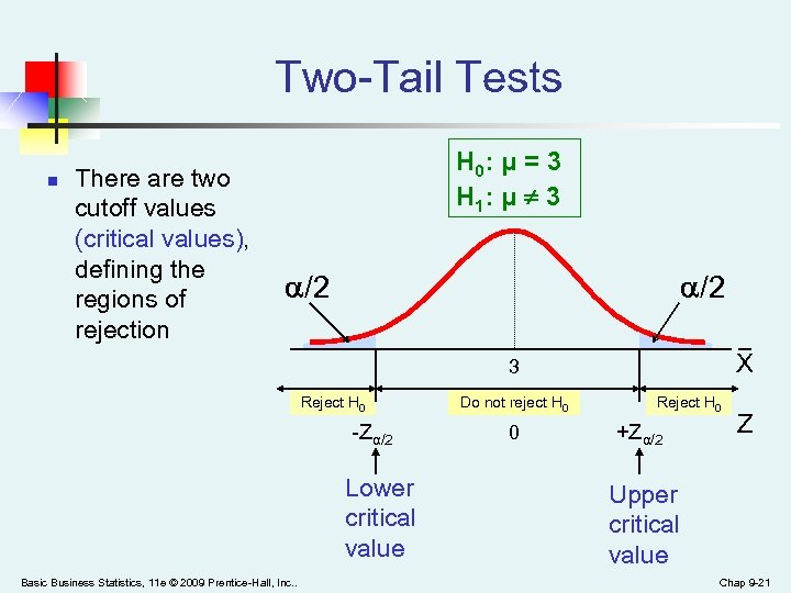 Two-Tail Tests n There are two cutoff values (critical values), defining the regions of
