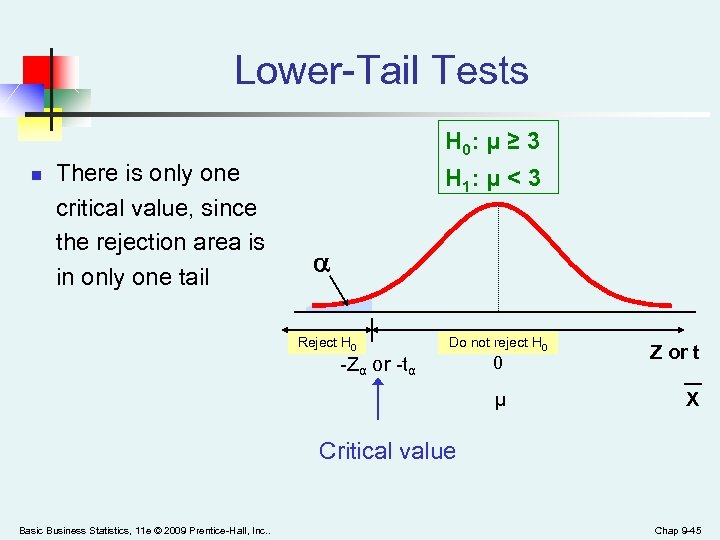 Lower-Tail Tests H 0: μ ≥ 3 n There is only one critical value,