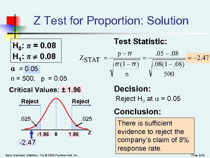 Z Test for Proportion: Solution Test Statistic: H 0: π = 0. 08 H