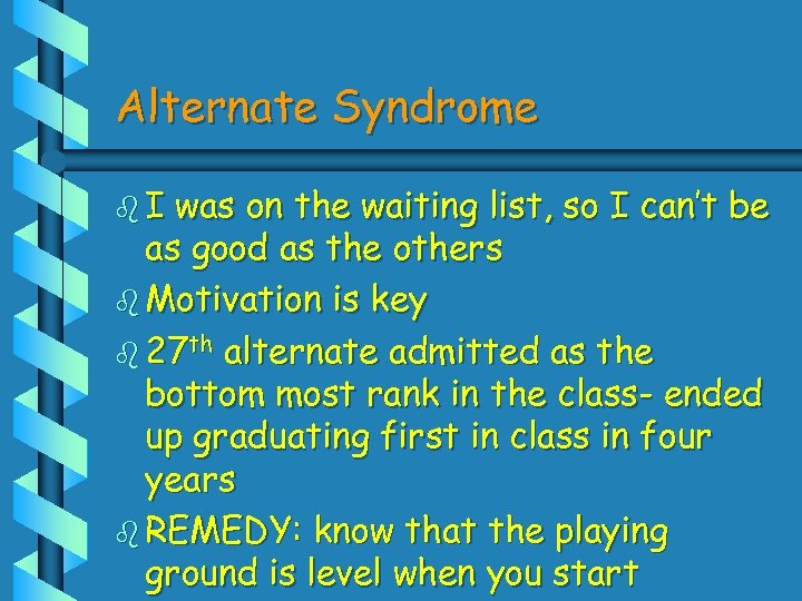 Alternate Syndrome b. I was on the waiting list, so I can't be as