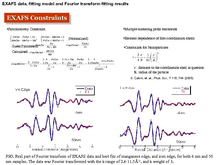 EXAFS data, fitting model and Fourier transform fitting results EXAFS Constraints • Stoichiometry Constraint: