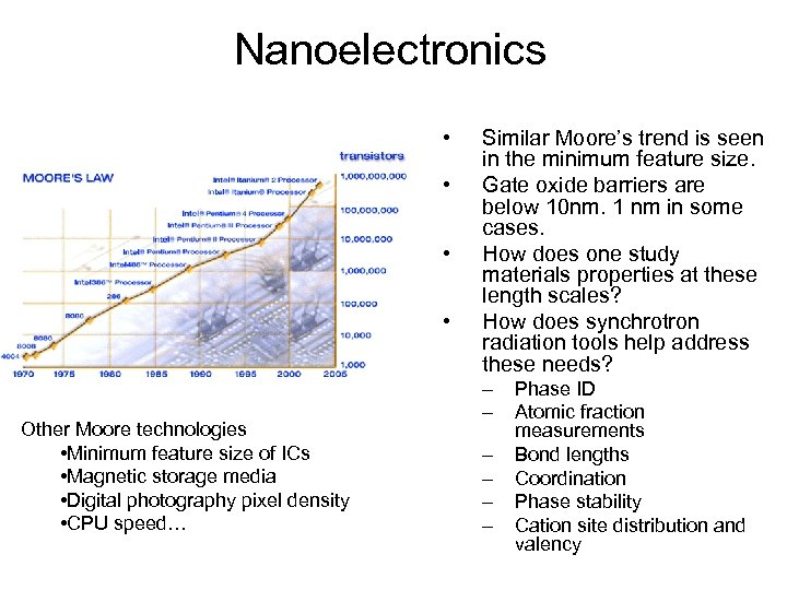 Nanoelectronics • • Other Moore technologies • Minimum feature size of ICs • Magnetic
