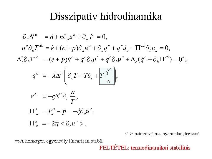 Disszipatív hidrodinamika < > szimmetrikus, nyomtalan, térszerű ÞA homogén egyensúly lineárisan stabil. FELTÉTEL: termodinamikai