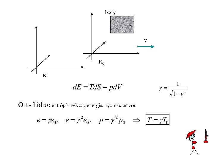 body v K 0 K Ott - hidro: entrópia vektor, energia-nyomás tenzor