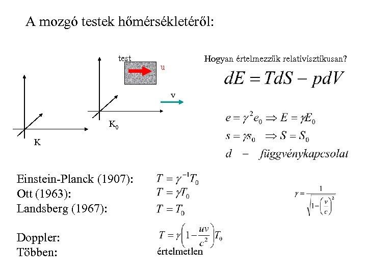 A mozgó testek hőmérsékletéről: test Hogyan értelmezzük relativisztikusan? u v K 0 K Einstein-Planck