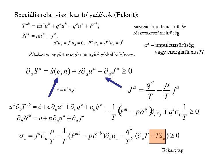 Speciális relativisztikus folyadékok (Eckart): energia-impulzus sűrűség részecskeszámsűrűség Általános, együttmozgó mennyiségekkel kifejezve. qa – impulzussűrűség