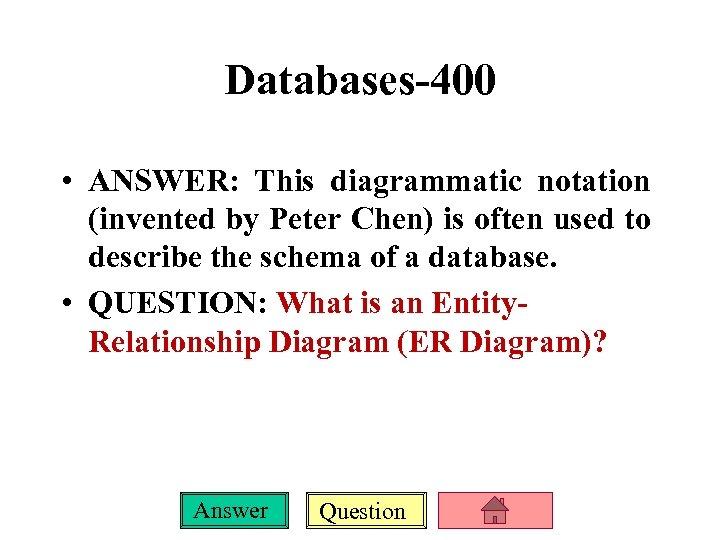 Databases-400 • ANSWER: This diagrammatic notation (invented by Peter Chen) is often used to