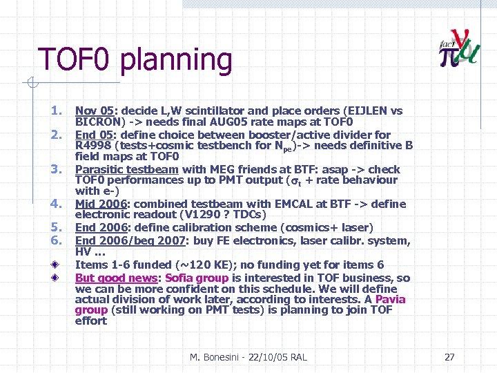 TOF 0 planning 1. 2. 3. 4. 5. 6. Nov 05: decide L, W