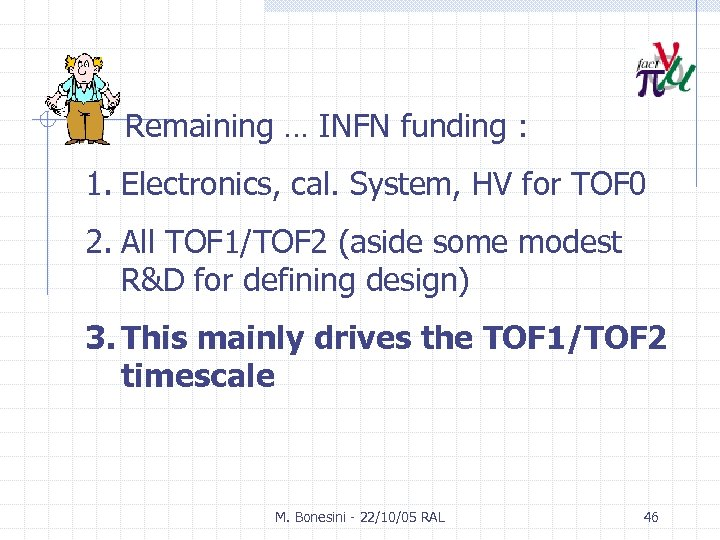 Remaining … INFN funding : 1. Electronics, cal. System, HV for TOF 0 2.