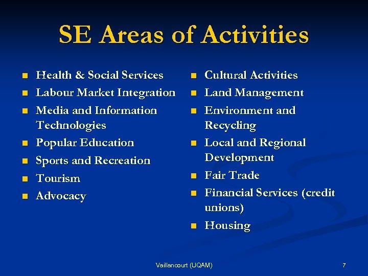 SE Areas of Activities n n n n Health & Social Services Labour Market