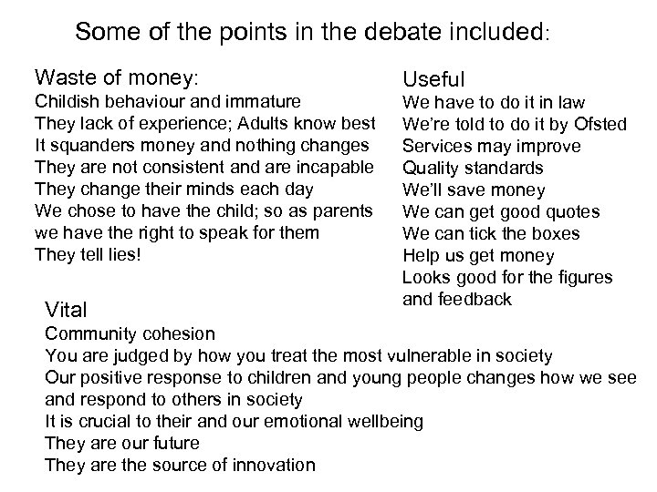 Some of the points in the debate included: Waste of money: Childish behaviour and