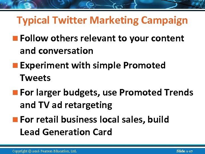 Typical Twitter Marketing Campaign n Follow others relevant to your content and conversation n