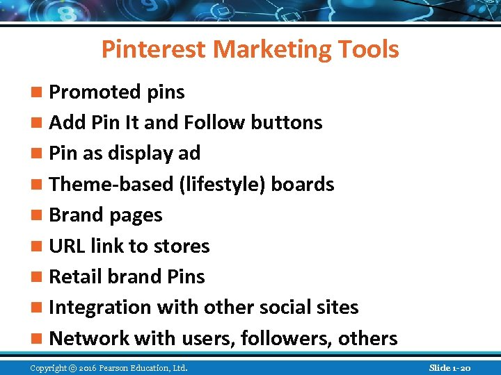 Pinterest Marketing Tools n Promoted pins n Add Pin It and Follow buttons n