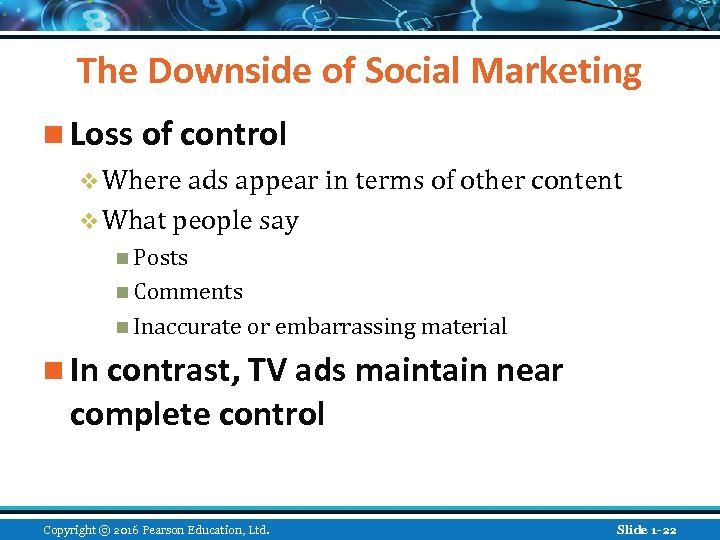 The Downside of Social Marketing n Loss of control v Where ads appear in