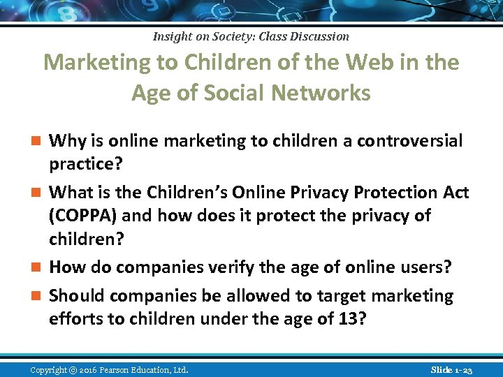 Insight on Society: Class Discussion Marketing to Children of the Web in the Age