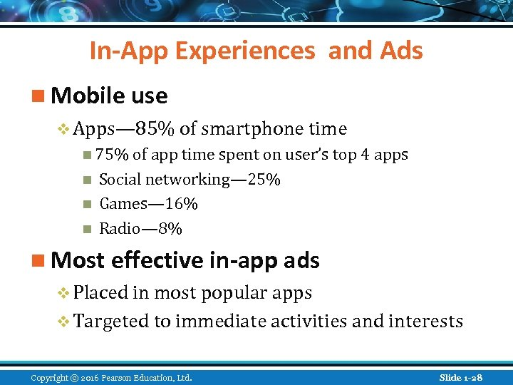 In-App Experiences and Ads n Mobile use v Apps— 85% of smartphone time n