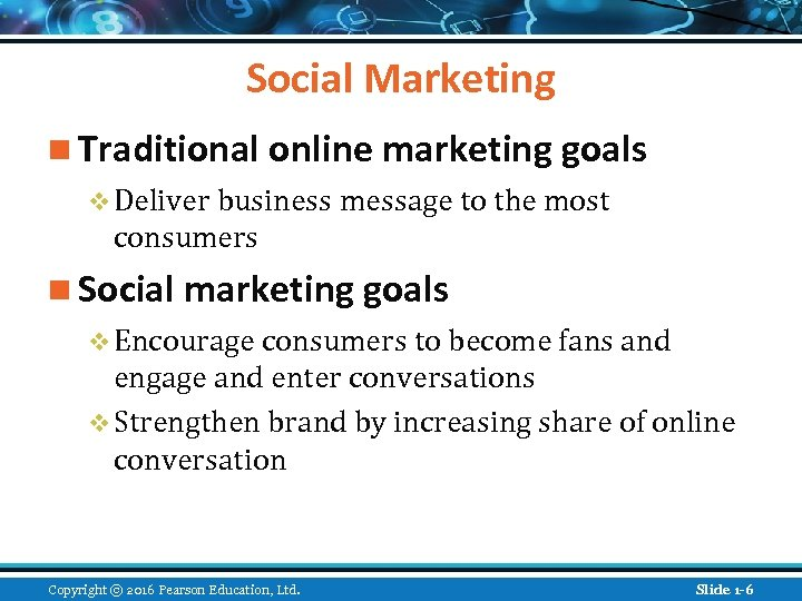Social Marketing n Traditional online marketing goals v Deliver business message to the most