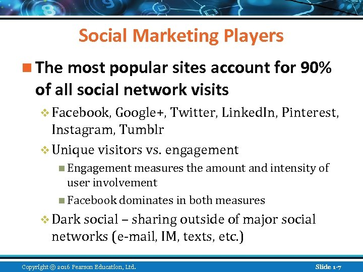 Social Marketing Players n The most popular sites account for 90% of all social