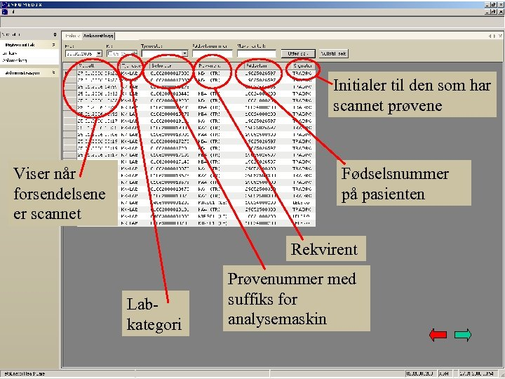 Initialer til den som har scannet prøvene Viser når forsendelsene er scannet Fødselsnummer på