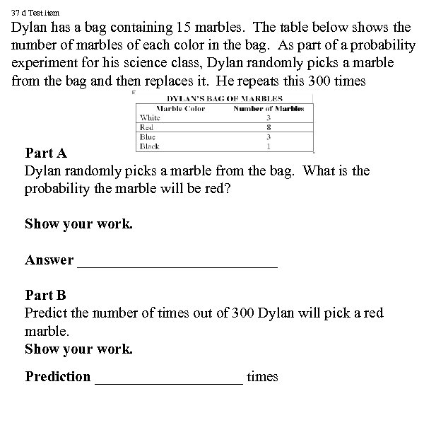 37 d Test item Dylan has a bag containing 15 marbles. The table below
