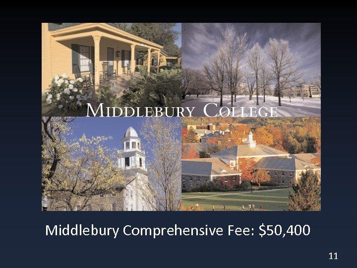 Middlebury Comprehensive Fee: $50, 400 11
