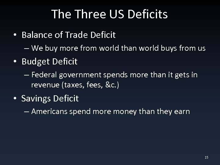 The Three US Deficits • Balance of Trade Deficit – We buy more from