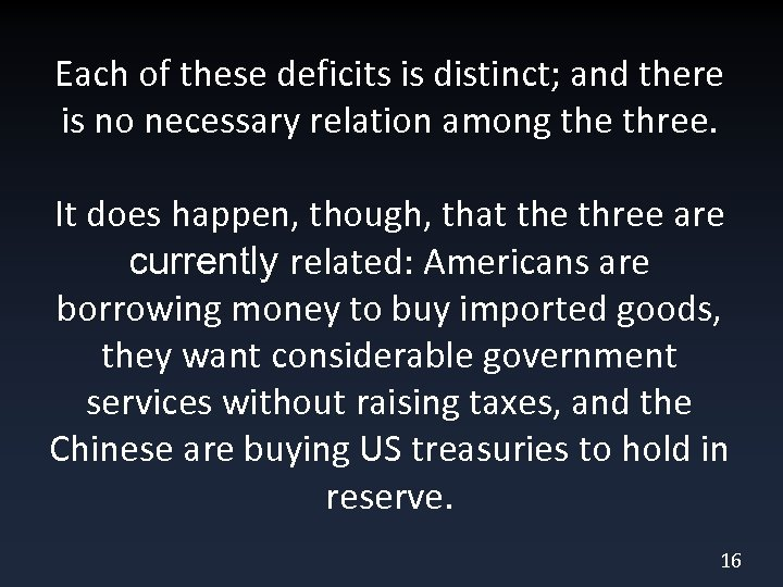 Each of these deficits is distinct; and there is no necessary relation among the