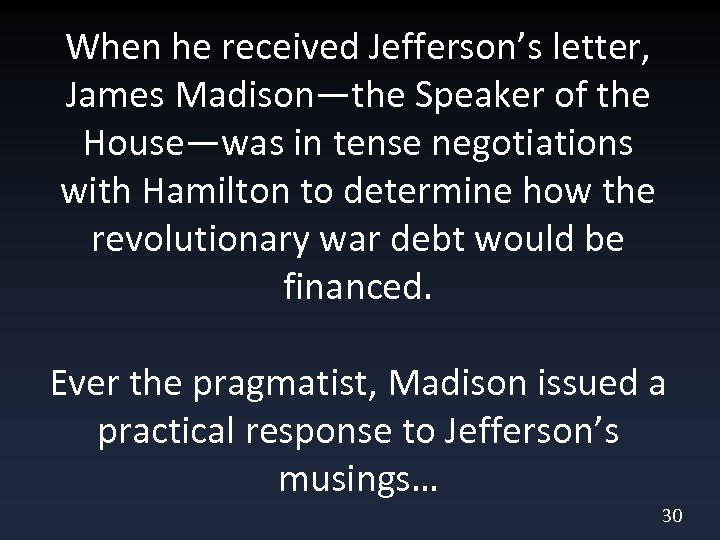 When he received Jefferson's letter, James Madison—the Speaker of the House—was in tense negotiations