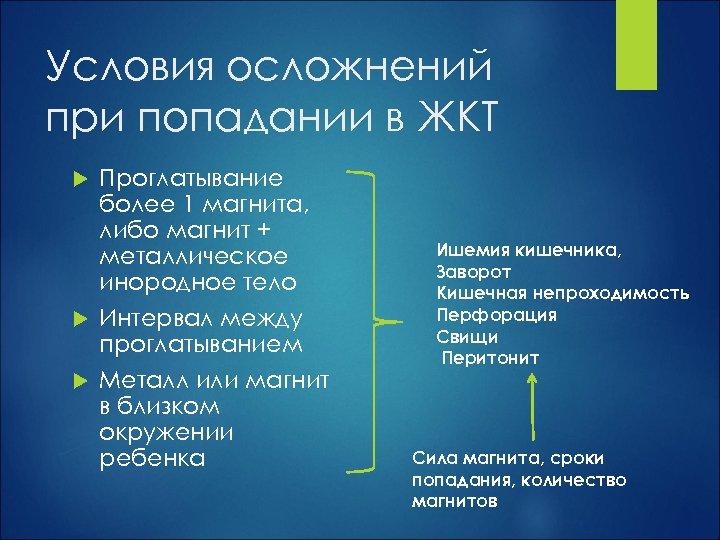 Условия осложнений при попадании в ЖКТ Проглатывание более 1 магнита, либо магнит + металлическое