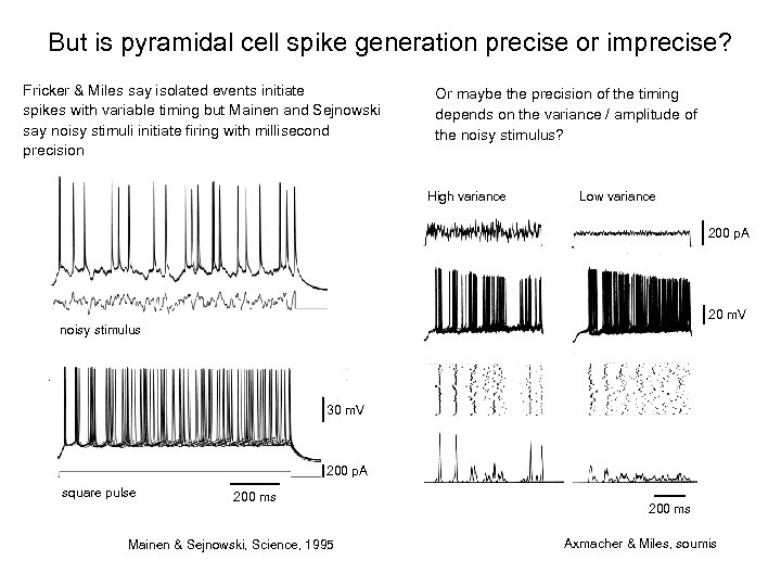 But is pyramidal cell spike generation precise or imprecise? Fricker & Miles say isolated