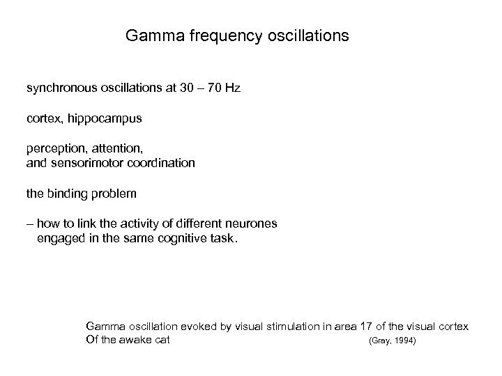 Gamma frequency oscillations synchronous oscillations at 30 – 70 Hz cortex, hippocampus perception, attention,